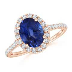 Sapphire Halo Ring with Diamonds (GIA Certified Sapphire)