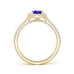 Toggle Oval Tanzanite Halo Ring with Diamond Accents