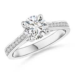 Four Prong Set Solitaire Round Diamond Cathedral Ring