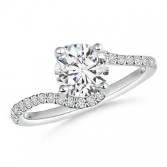 Twisted Shank Solitaire Round Diamond Bypass Ring