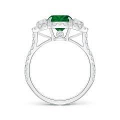 Toggle GIA Certified Cushion Emerald Ring with Half Moon Diamonds