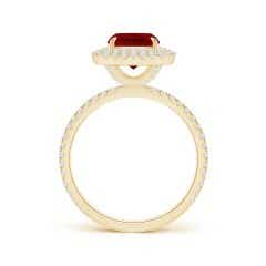 Toggle GIA Certified Cushion Ruby Double Halo Ring