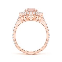 Toggle Pear-Shaped Morganite Double Halo Ring