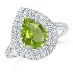 Pear Shaped Peridot Double Halo Ring with Diamond Accents