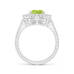 Toggle Pear-Shaped Peridot Double Halo Ring