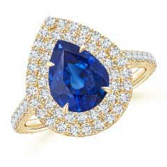 GIA Certified Pear Sri Lankan Sapphire Double Halo Ring