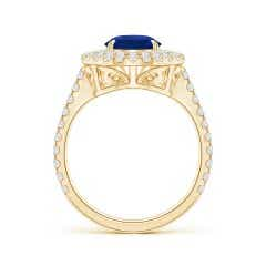 Toggle GIA Certified Pear Sri Lankan Sapphire Double Halo Ring