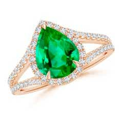 Pear-Shaped GIA Certified Emerald Halo Split Shank Ring