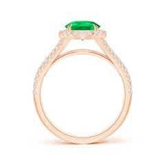 Toggle Pear-Shaped GIA Certified Emerald Halo Split Shank Ring