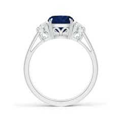 Toggle GIA Certified Cushion Sapphire Ring with Half-Moon Diamonds