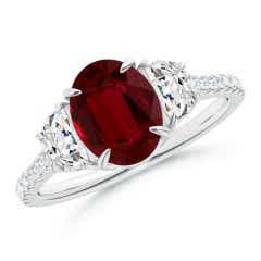 Oval Ruby and Diamond 3 Stone Ring (GIA Certified Ruby)