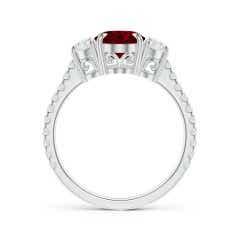 Toggle Oval Ruby and Diamond 3 Stone Ring (GIA Certified Ruby)