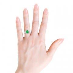 3 Stone Cushion Cut Emerald and Diamond Halo Ring
