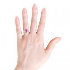 3 Stone Cushion Pink Sapphire and Diamond Halo Ring