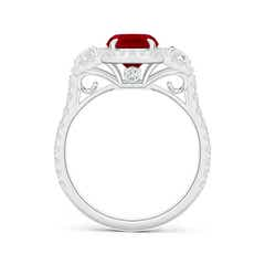 3 Stone Cushion Ruby and Diamond Halo Engagement Ring