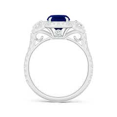 3 Stone Cushion Sapphire and Diamond Halo Ring with Claw Set