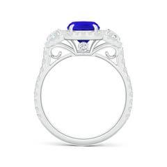 3 Stone Cushion Tanzanite and Diamond Halo Ring with Claw Set