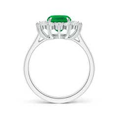 Toggle Cushion Cut Emerald and Diamond Floral Ring with Claw Set