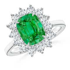 Cushion Cut Emerald and Diamond Floral Ring with Claw Set