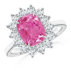 Cushion Pink Sapphire and Diamond Floral Ring with Claw Set
