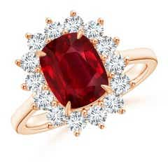 Claw-Set GIA Certified Cushion Ruby Floral Ring