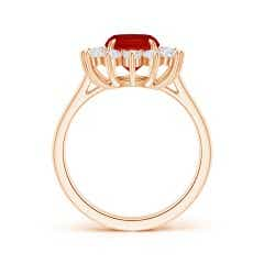Toggle Claw-Set GIA Certified Cushion Ruby Floral Ring