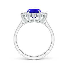 Toggle Cushion Tanzanite and Diamond Floral Ring with Claw Set