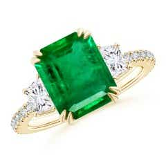 GIA Certified Octagonal Emerald Three Stone Ring