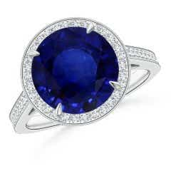 GIA Certified Sapphire Cathedral Halo Ring with Milgrain