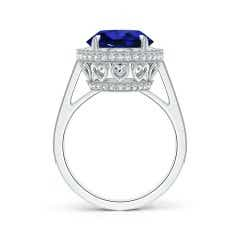 Toggle GIA Certified Sapphire Cathedral Halo Ring with Milgrain