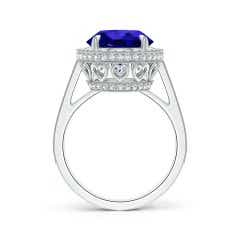 Toggle GIA Certified Tanzanite Cathedral Halo Ring with Milgrain