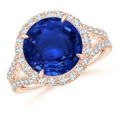 Round GIA Certified Sri Lankan Sapphire Split Shank Ring