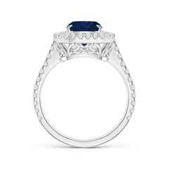 Toggle Cushion Sapphire Engagement Ring with Diamond Double Halo
