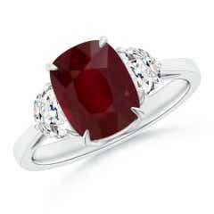 GIA Certified Cushion Ruby Three Stone Ring