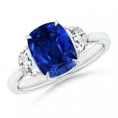 Cushion Sapphire Three Stone Ring with Diamonds