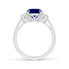 Toggle Cushion Sapphire Three Stone Ring with Diamonds