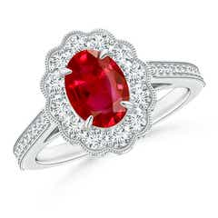 Vintage Inspired Oval Ruby Flower Ring with Diamond Accents