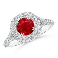 Diamond Double Halo and Round Ruby Engagement Ring