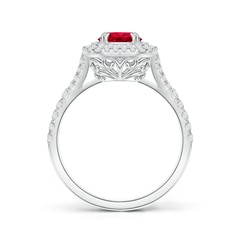 Toggle Round Ruby Engagement Ring with Double Diamond Halo