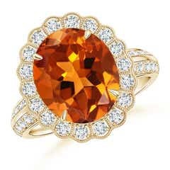 Vintage Style Citrine Cocktail Ring with Diamond Halo