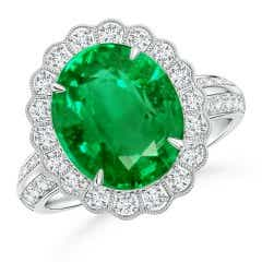 GIA Certified Emerald Cocktail Ring with Diamond Floral Halo