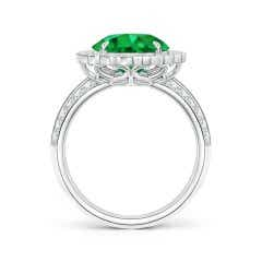 Toggle GIA Certified Emerald Cocktail Ring with Diamond Floral Halo