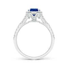 Toggle Claw-Set Oval Blue Sapphire Split Shank Halo Ring