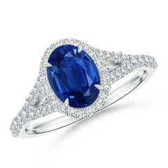 Claw-Set Oval Blue Sapphire Split Shank Halo Ring