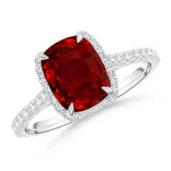 Cushion Ruby and Diamond Half Halo Ring (GIA Certified Ruby)