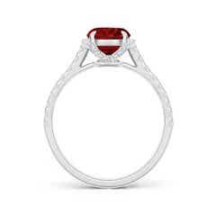 Toggle Cushion Ruby and Diamond Half Halo Ring (GIA Certified Ruby)