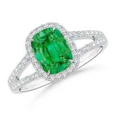 Split Shank Cushion Emerald Halo Ring with Diamonds