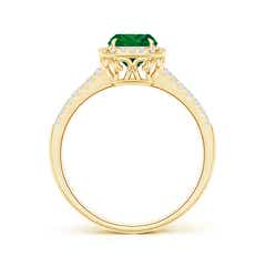 Toggle Split Shank Cushion Emerald Halo Ring with Diamonds
