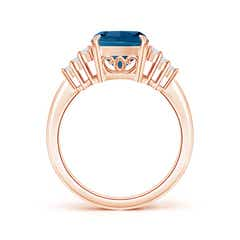 Toggle Classic London Blue Topaz Ring with Diamond Accents