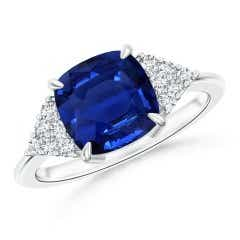 Classic GIA Certified Blue Sapphire Ring with Diamonds